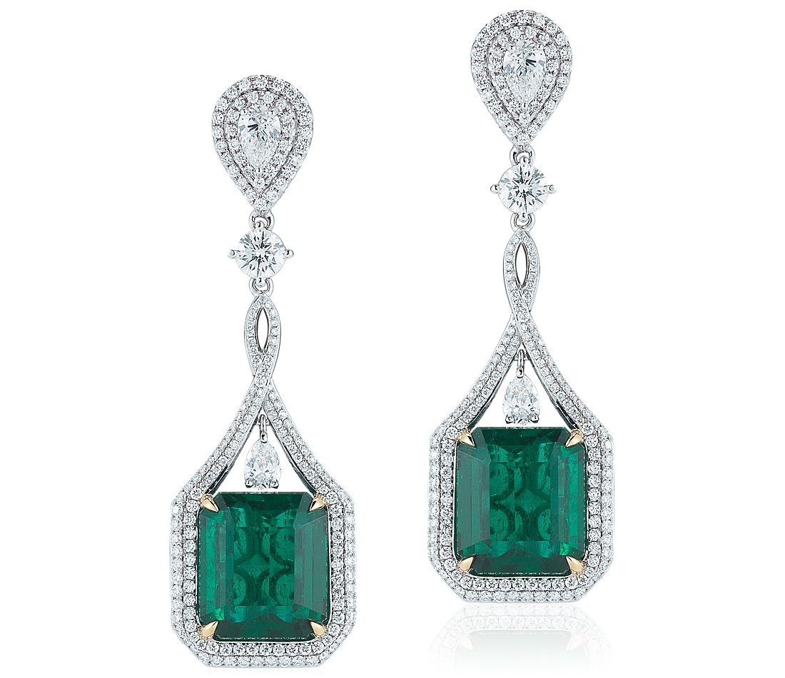emerald and drop earrings in 18k white gold 24 05
