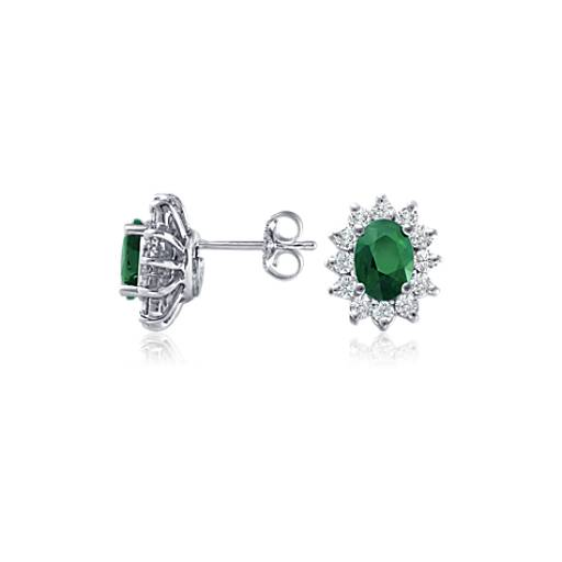 Emerald and Diamond Earrings in 18k White Gold (7x5mm)