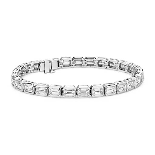 NEW Diamant taille émeraude Eternity Line Bracelet in Platine (11,25 carats, poids total)