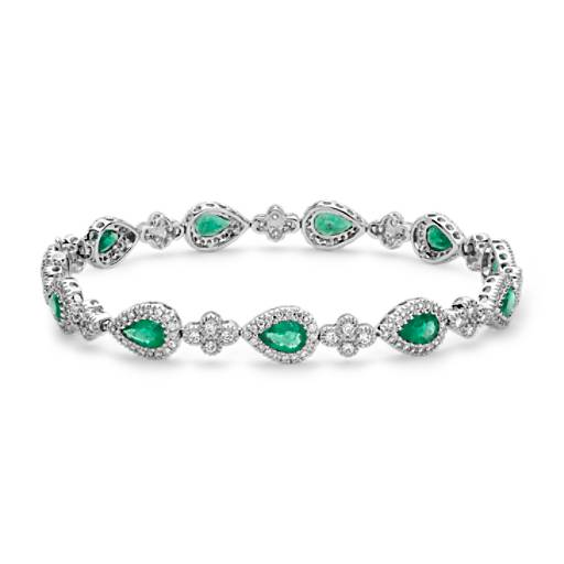 Emerald and Pavé Diamond Halo Bracelet in 18k White Gold