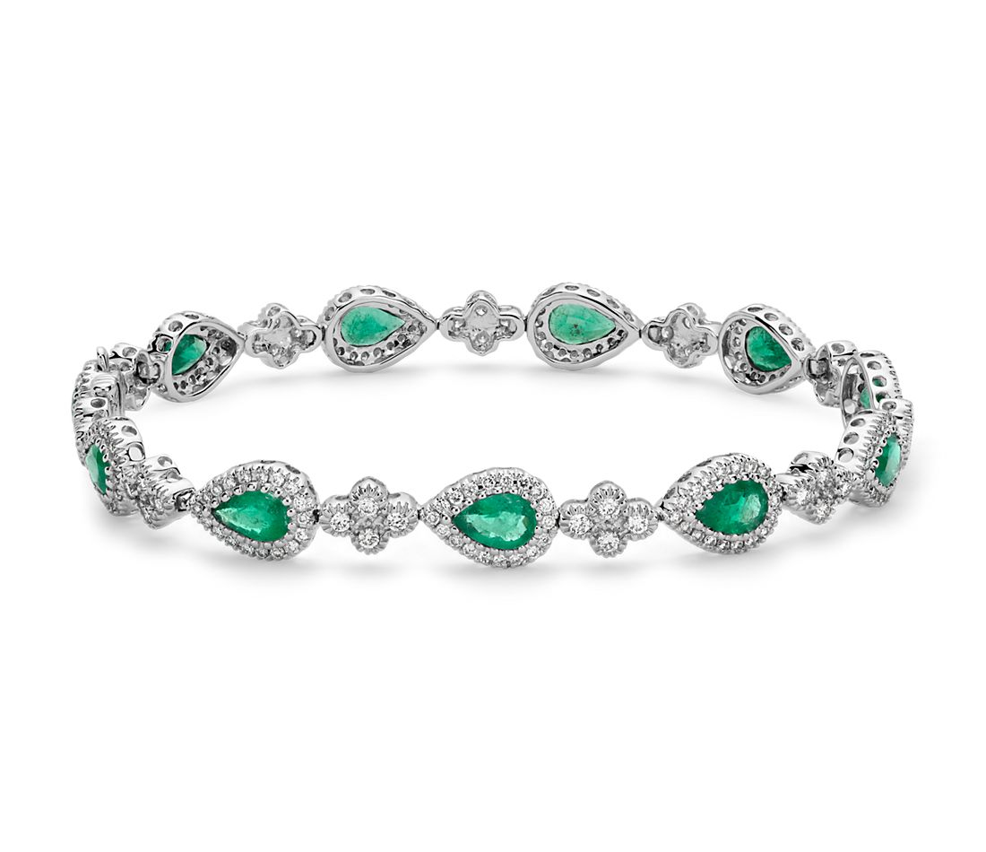 Emerald and Pavé Diamond Halo Bracelet in 18k White Gold (6x4mm)