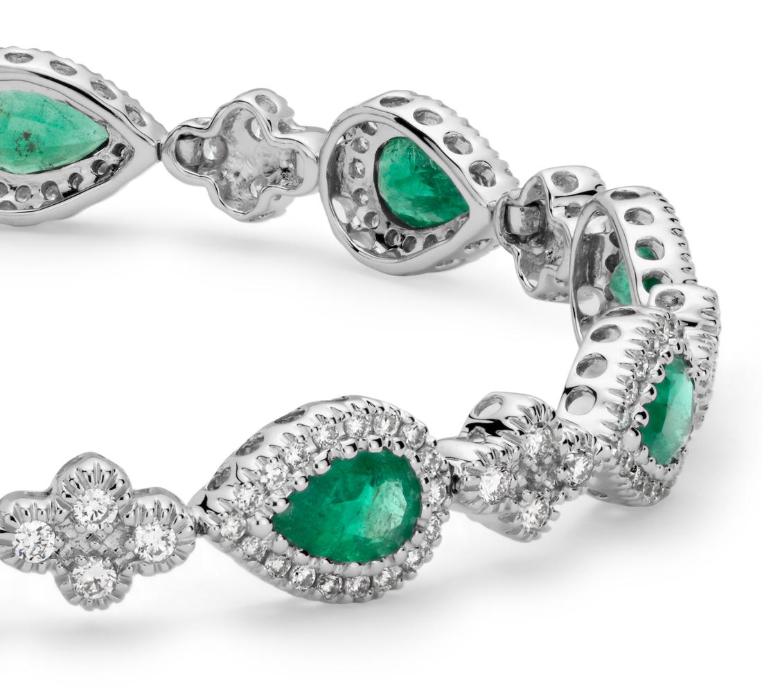 Emerald and Pavé Diamond Halo Bracelet in 18k White Gold