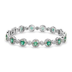Heirloom Emerald and Pavé Diamond Halo Bracelet in 18k White Gold