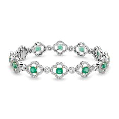 Quatrefoil Emerald and Pavé Diamond Halo Bracelet in 18k White Gold