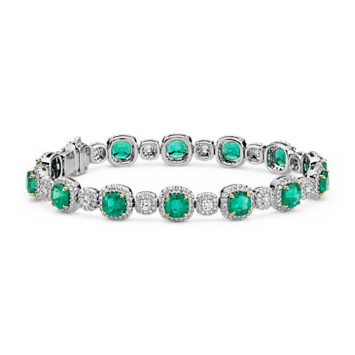 Cushion-Cut Emerald and Pavé Diamond Halo Bracelet in 18k White and Yellow Gold (5x5mm)