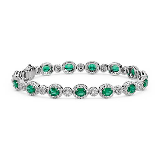 Oval-Cut Emerald and Pavé Diamond Bracelet in 18k White Gold (5x4mm)