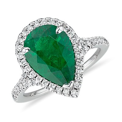NEW Emerald Pear-Shape and Diamond Halo Cocktail Ring in Platinum (3.22 ct. center)