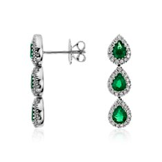 Emerald and Diamond Halo Drop Earrings in 18k White Gold
