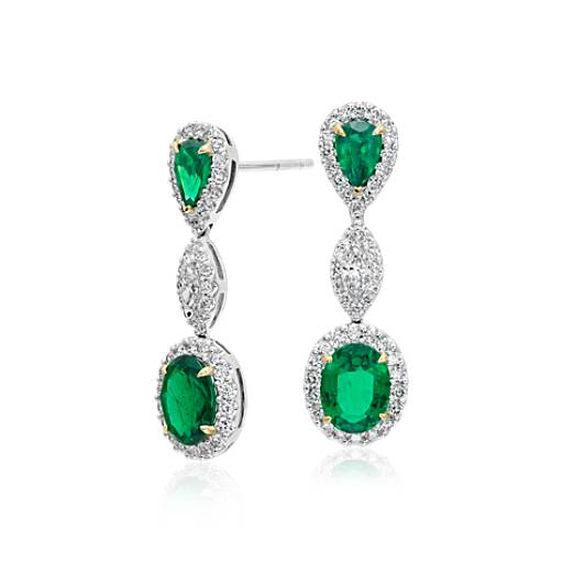 NEW Emerald and Diamond Halo Triple Drop Earrings in 18k White and Yellow Gold  (2.79 ct. tw. centers)