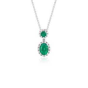 NEW Emerald and Diamond Halo Drop Pendant in 14k White Gold