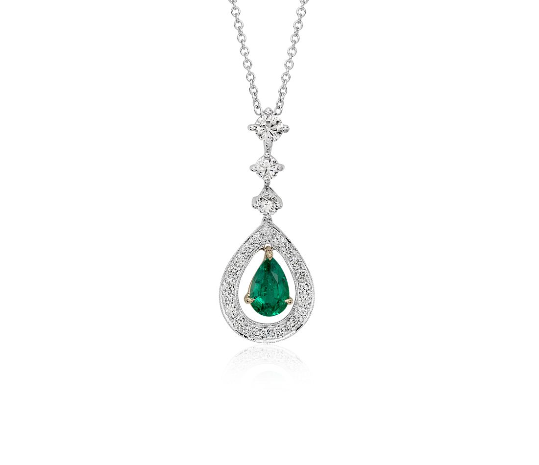 Pear Shape Emerald and Diamond Halo Drop Pendant in 18k White Gold (0.68 cts)