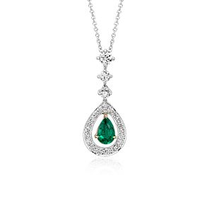 Pendentif diamant serti pavé Halo et émeraude forme poire en or blanc 18carats (0,68 ct)