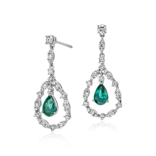NEW Emerald and Diamond Drop Earrings in 14k White Gold