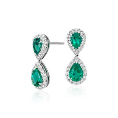 Emerald and Diamond Classic Aretes colgantes in Oro blanco de 18k
