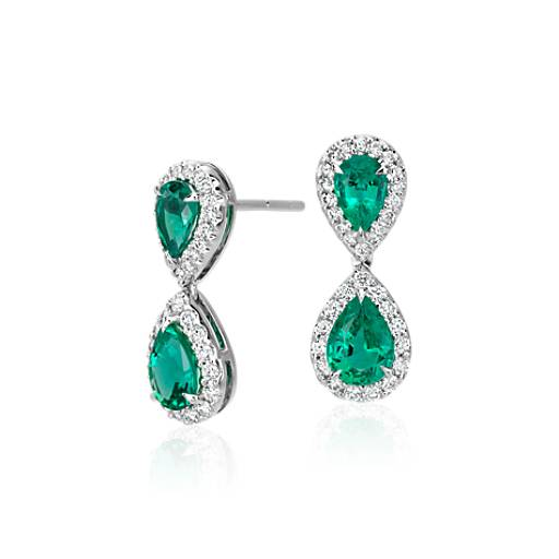 Emerald and Diamond Classic Drop Earrings in 18k White Gold (7x5mm)