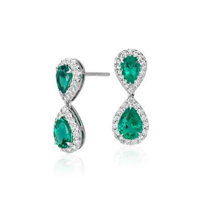 Aretes colgantes de diamante y esmeralda en oro blanco de 18 k (7x5mm)