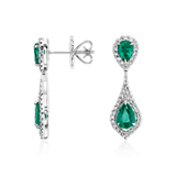 Pear-Shaped Emerald and Diamond Dew Drop Earrings in 18k White Gold