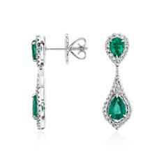 Émeraude taille poire and Diamond Dew Pendants d'oreilles in Or blanc 18 ct