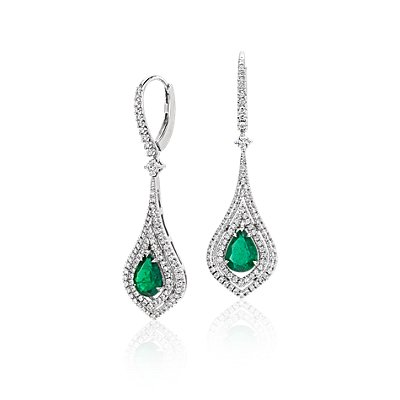 Pear Shape Emerald Double Halo Diamond Drop Earrings in 18k White Gold (8x6mm)