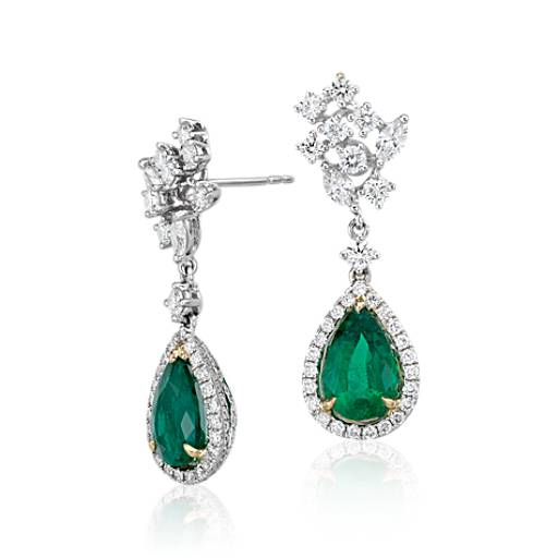 NEW Pear Shape Emerald and Diamond Halo Drop Earrings in 18k White and Yellow Gold (3.40 ct. tw. center)
