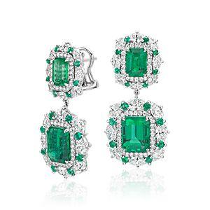 Aretes colgantes de halo de diamante y esmeralda en forma de estrella en oro blanco de 18 k (6,62 qt. total)