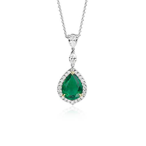 NEW Pear-Shaped Emerald and Diamond Pavé Halo Pendant in 18k White and Yellow  Gold (1.76 ct. center)