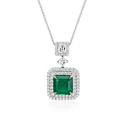 NEW Emerald and Diamond Halo Drop Pendant in 18k White Gold (2.68 ct. center)