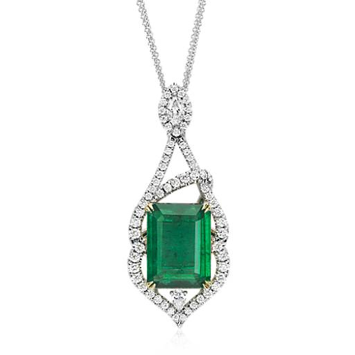 NEW Emerald and Diamond Pavé  Drop Pendant in 18k White and Yellow Gold (13.23 ct. center)