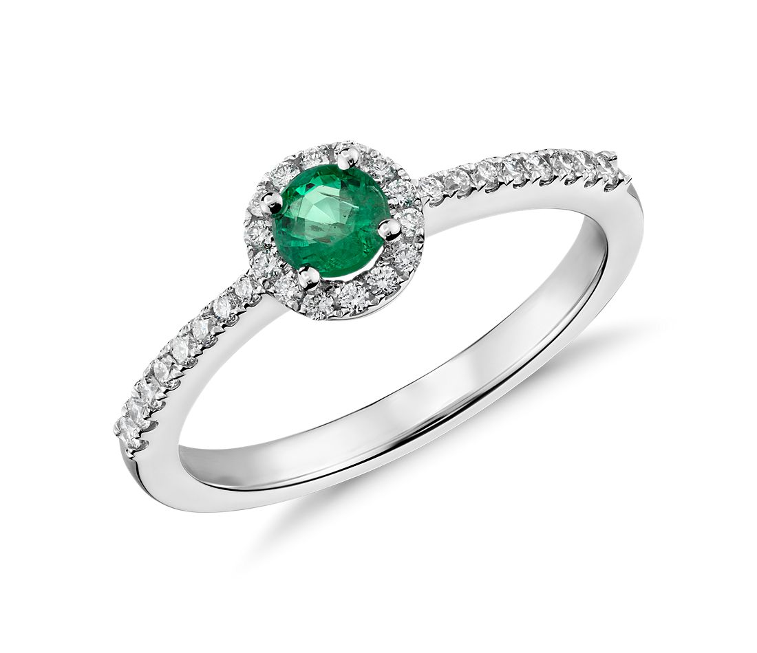 Emerald and Diamond Petite Ring in 14k White Gold