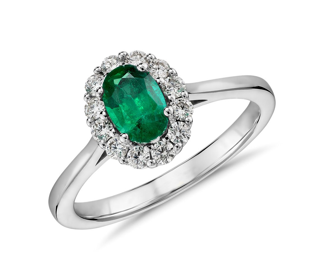 Emerald and Diamond Halo Ring in 14k White Gold