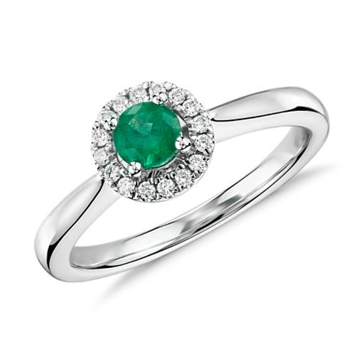 NEW Emerald and Diamond Petite Halo Ring in 14k White Gold (4mm)