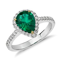 Pear Shaped Emerald and Diamond Halo Ring in 18k White Gold (1.37 cts)