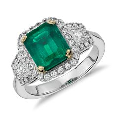 Emerald and Diamond Halo Three-Stone Ring in 18k White Gold (2.23 cts)