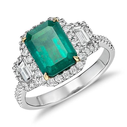 Emerald Cut Emerald and Diamond Halo Three-Stone Ring in 18k White and Yellow Gold (2.05 ct center) (9x7mm)
