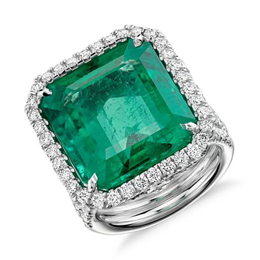 NEW Emerald and Diamond Halo  Ring in 18k White Gold (17.39 ct. center)