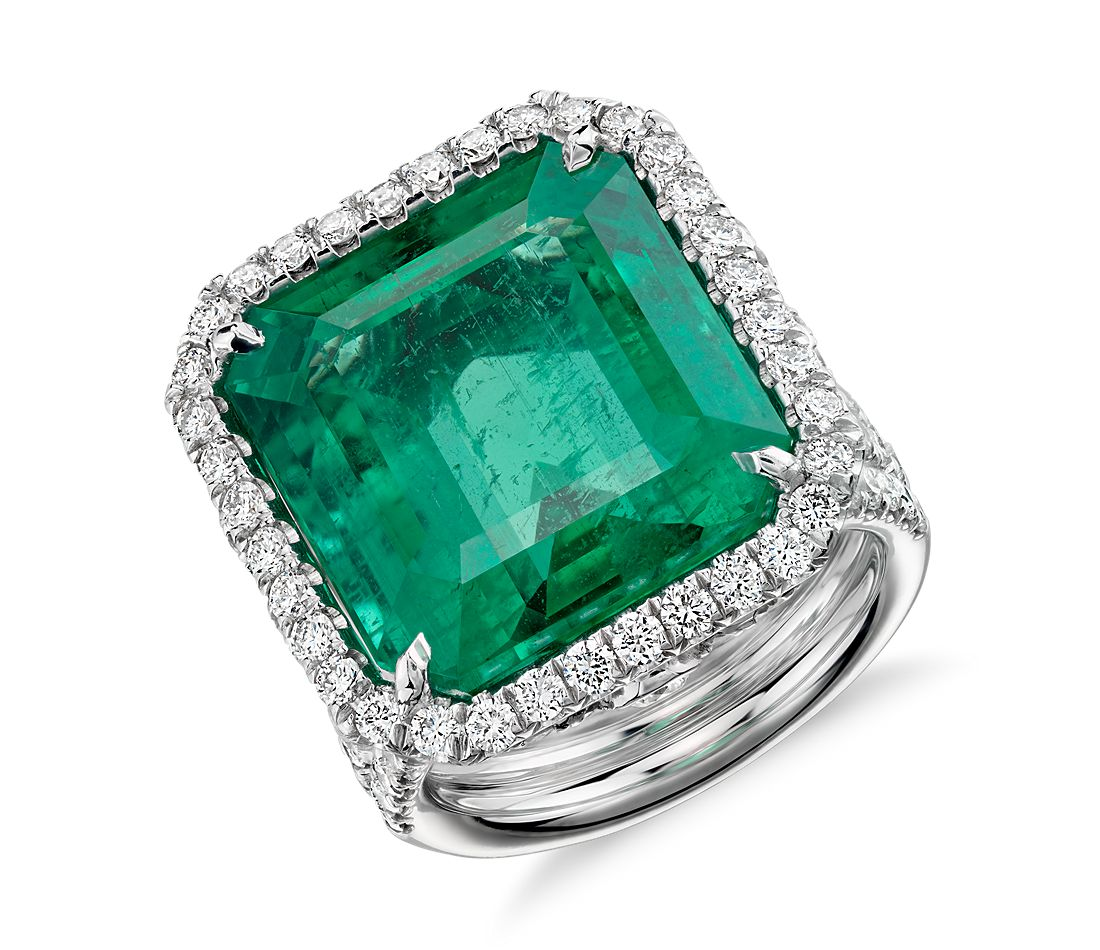 emerald and halo ring in 18k white gold 17 39 ct