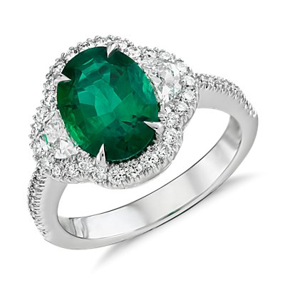 NEW Emerald and Diamond Halo Ring in 18k White Gold (2.01 ct. center)