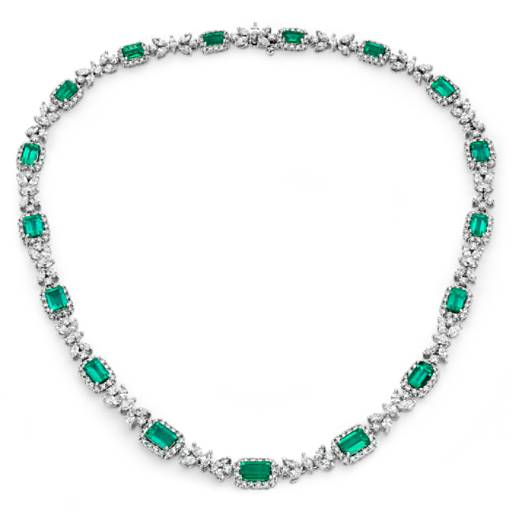 Emerald Diamond Necklace in 18k White Gold