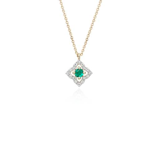 NEW Petite Emerald Floral Pendant Necklace in 14k Yellow Gold (2.8mm)