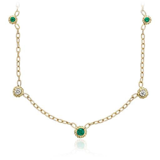 Emerald and Diamond Bezel Necklace 14k Yellow Gold (3.5mm)