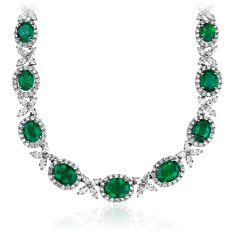 Emerald and Diamond Necklace in 18k White Gold