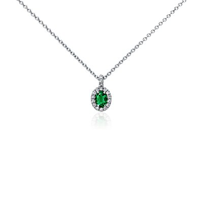 Oval Emerald and Pavé Diamond Pendant in18k White Gold (7x5mm)