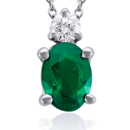 Oval Emerald and Diamond Pendant 18k White Gold (7x5mm)