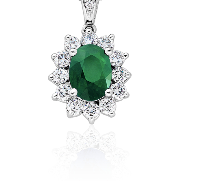 Emerald and Diamond Pendant in 18k White Gold (8x6mm)