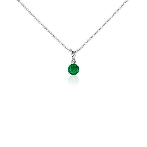 Emerald and Diamond Solitaire Pendant in 18k White Gold (5mm)