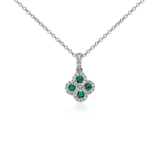 Emerald and Diamond Drop Pendant in 14k White Gold (2mm)