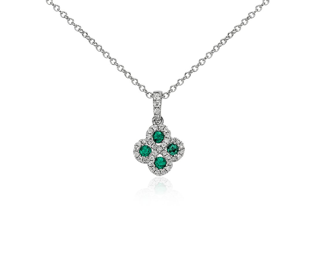 Emerald and Diamond Drop Pendant in 14k White Gold