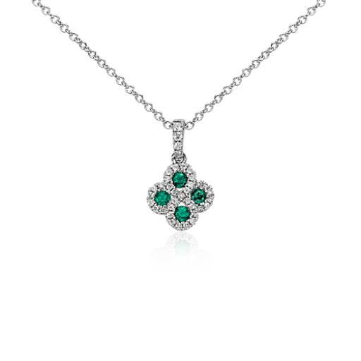 Emerald and Diamond Drop Pendant in 14k White Gold