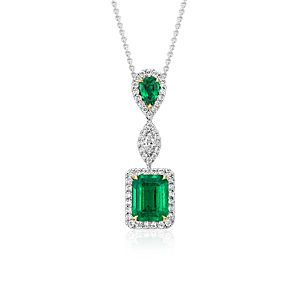 Emerald and Diamond Drop Pendant in 18k White Gold (2.68 cts)