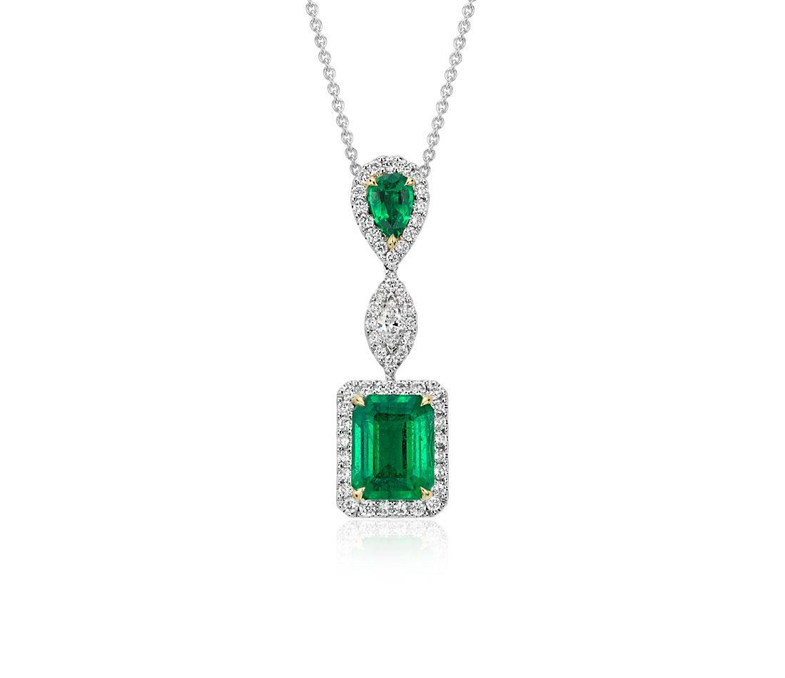 Colgante de diamante y esmeralda en oro blanco de 18 k (2,68qt.)